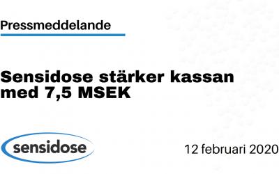 Sensidose stärker kassan med 7,5 MSEK