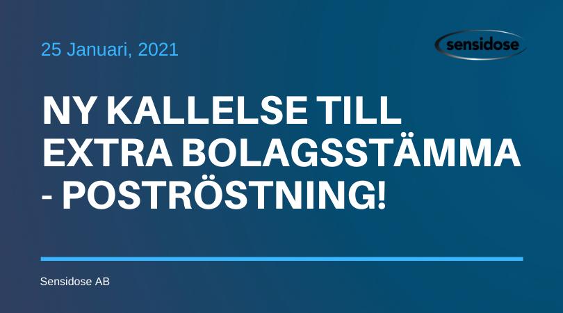 Ny Kallelse till Extra Bolagsstämma – Poströstning!